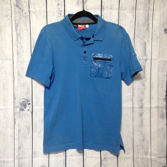 cb1bb2f15eb Puma Shirts | Bmw Mini Cooper Blue Polo Shirt M Zip Pocket | Poshmark